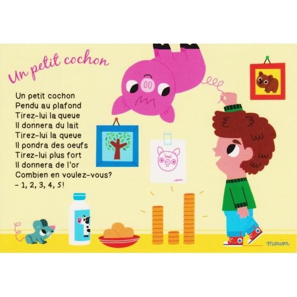 Carte postale comptine pour enfants un petit cochon - Un petit cochon pendu au plafond ...