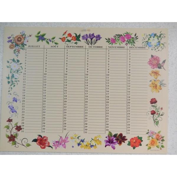 Calendriers perp tuels motifs floraux pour noter tous les anniversaires - Calendrier perpetuel a imprimer ...
