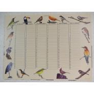 Calendrier perpétuel motifs oiseaux
