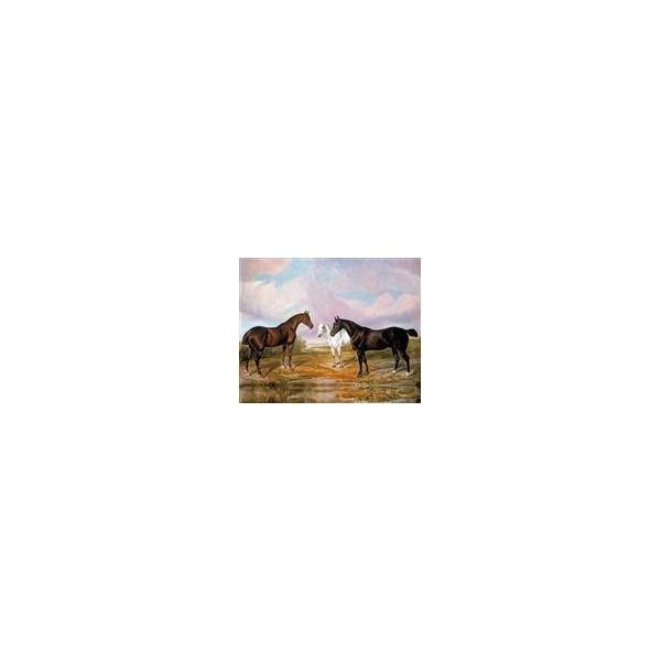 reproduction sur toile d 39 un tableau ancien chevaux dans la prairie. Black Bedroom Furniture Sets. Home Design Ideas