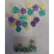 Accessoires scrapbooking et décorations :Boutons de roses camaieu turquoise