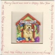 Carte de Noël  avec Magnet Chiot dans la niche