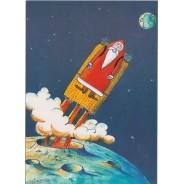 Père Noël en fusée - carte pour enfants