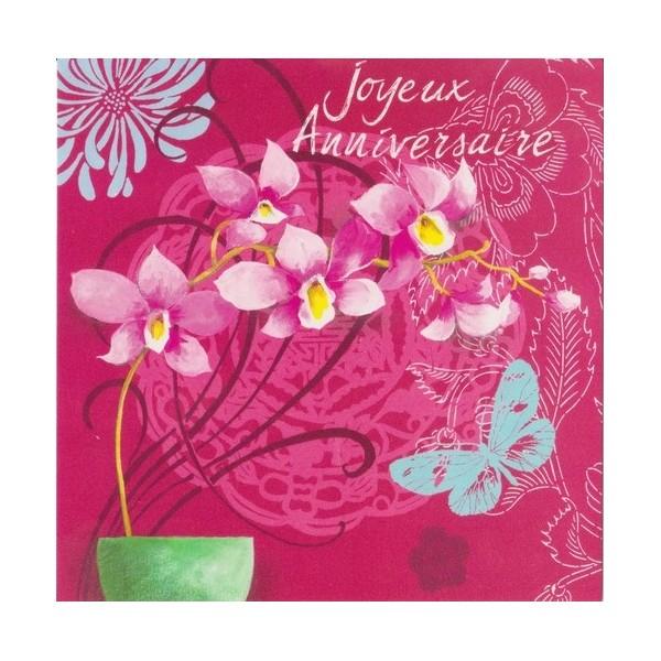 carte d'anniversaire à fleurs d'orchidée dans un style épuré