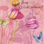 Bon rétablissement, carte avec fleurs de tulipes et papillons