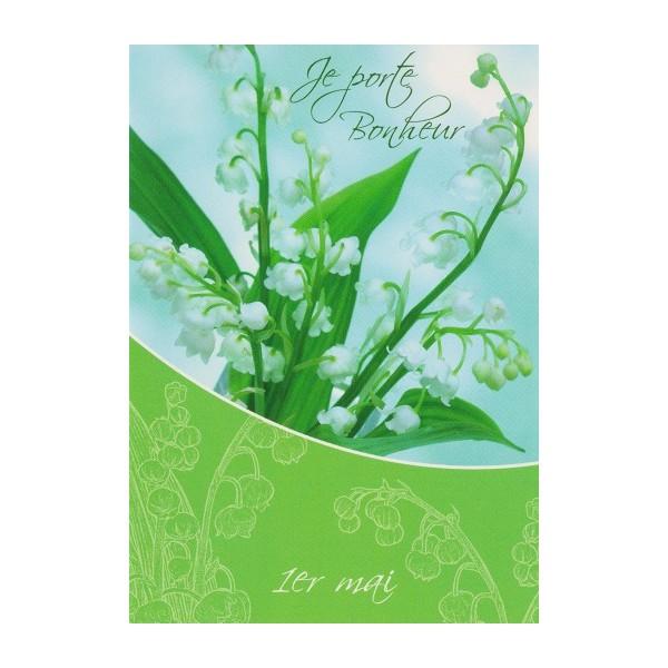 Carte Brin de Muguet du 1er Mai porte-bonheur, Carterie ...