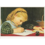 Fillette écrivant de Albert Anker, reproduction du tableau sur carte postale