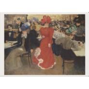 """""""Au Café d'Harcourt à Paris"""" d'Henri Evenepoel, carte postale reproduction du tableau"""