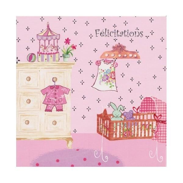 Très Carte de félicitations pour la naissance d'une petite fille. NN88