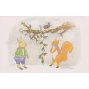 Petits Animaux de la Fôret à Noël, carte pour enfants