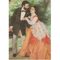 """Le couple Sisley"" par Pierre Auguste Renoir -reproduction du tableau en carte postale."