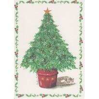"""""""Chat au pied du sapin de Noël"""", carte de Noël"""