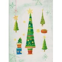 Quatre sapins de Noël différents en carte double