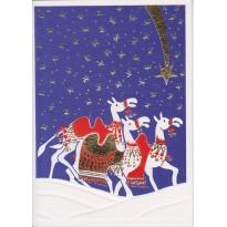 Les chameaux des rois mages suivent l'étoile : carte de Noël