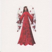 Ange couronné, en robe rouge lumineuse : carte de Noël