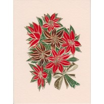 Bouquet de Poinsettia ou étoiles de Noël, carte de Noël
