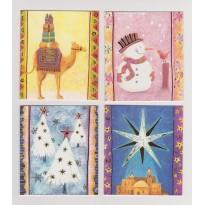 4 cartes de Noël pour 4 sujets scintillants