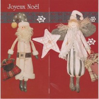 """Carte Joyeux Noël """" Père Noël et Poupées chiffons"""""""