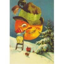"""""""Le Lutin fait sourire la Lune"""", carte de Noël"""