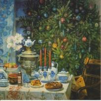 Noël Russe : sapin et samovar, carte de Noël