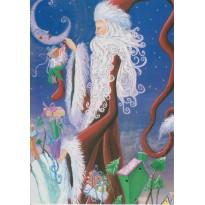 Père Noël à grande houppelande, carte de Noël