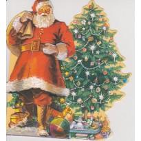 """""""Père Noël arrivant au pied du sapin"""" : carte double grand format"""