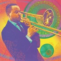 Jazzman et son trombone à coulisse, carte postale