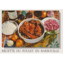 Poulet en Barbouille, carte postale recette Berry