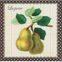 """La Poire : carte dessin """"naturaliste"""" de fruits"""