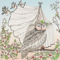 Chouette en Mariée, carte postale oiseau humanisé