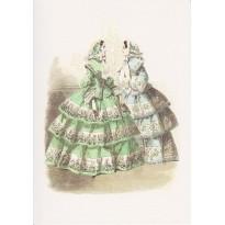 """Robes à crinolines : ancienne gravure de mode du """"Journal des Demoiselles"""" reproduites sur carte double."""