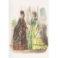 Ancienne gravure de mode féminine au 19ème siècle reproduite sur carte double.