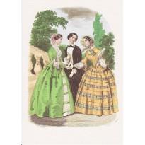 Mode romantique sur gravures anciennes de mode pour femmes  en reproduction sur carte double.