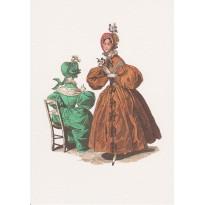 Mode au féminin sous Napoléon III , gravure ancienne reproduite sur carte double.