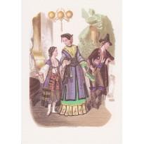 Vêtements pour Soirée costumée sous Napoléon III en gravures anciennes reproduites sur carte.