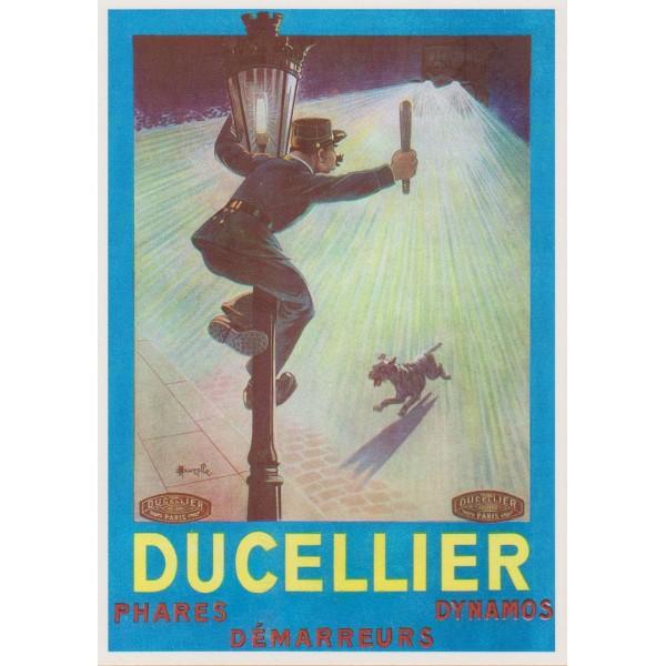 Carte postale publicitaire Ducellier, fournisseur phares de voiture