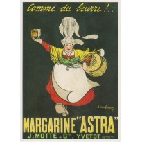 Margarine Astra, carte postale rééditant une ancienne publicité