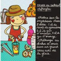 Cocktail Afterglow, carte postale recette pour enfants