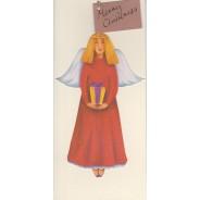 3 Anges et un bonhomme de neige : carte de Noël décoration de sapin