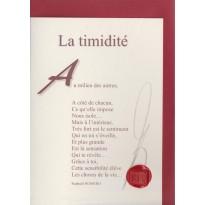 """""""La Timidité"""" poème de Raphaël Romero sur carte double."""