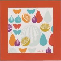 Fruits et Papillons, carte à cadre rouge