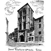 Eglise Saint Porchaire de Poitiers, dessin à la plume sur carte double.