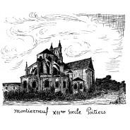 Carte Eglise Montierneuf de Poitiers, plume et encre de chine