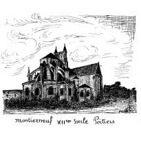 Eglise Montierneuf de Poitiers, plume et encre de chine.
