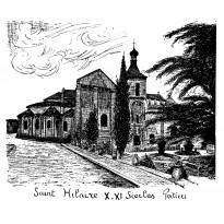 Eglise Saint Hilaire de Poitiers, dessin à la plume et encre de chine sur carte double.