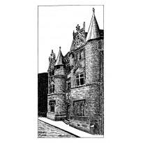Hôtel Fumé de Poitiers, dessin la plume et encre de chine sur grande carte double.