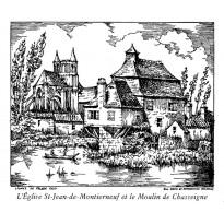 Eglise Montierneuf et Moulin de Chasseigne à Poitiers, carte double d'un dessin à la plume.