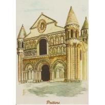 Petite carte Notre Dame la Grande Poitiers, reproduction de tableau.