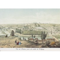 Carte reproduction gravure ancienne  vue générale de Poitiers