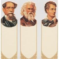 Trois portraits d'écrivains en marque-pages : Byron, Dickens et Longfellow